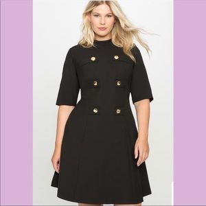 Eloquii Mock Neck Military Style Plus Size Dress